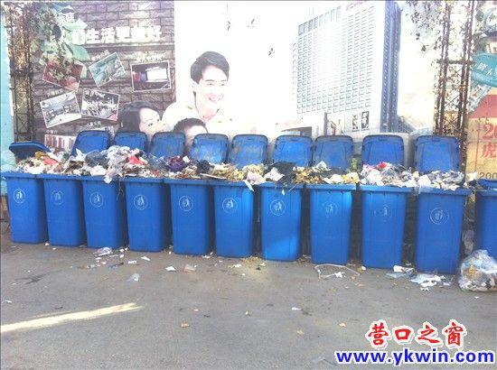 竟是一连11个装满了垃圾的垃圾桶迎面而来