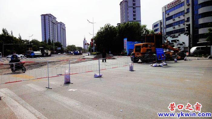 营口渤海大街泰和园十字路口北段封路