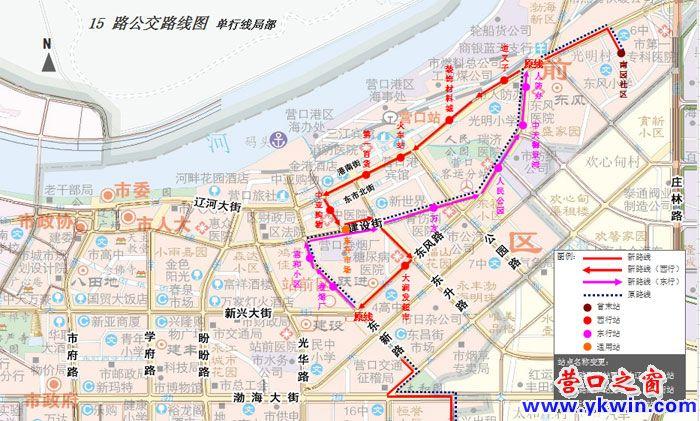营口单行道通行公交汽车线路图(二)