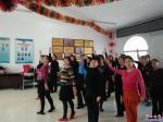 社区老年舞蹈队迎新春排练