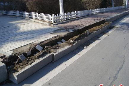 营口渤海大街边六块条石集体侧翻