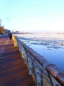 三九天,营口大辽河半水半冰