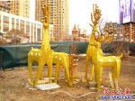营口中天·市府广场:四只金鹿迎新年